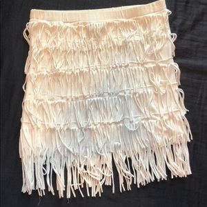 White fringe tube top